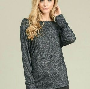 Charcoal soft brushed boat neck top  ( COMING)
